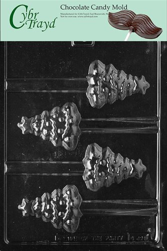 Cybrtrayd Life of the Party C421 Christmas Tree Pretzel Chocolate Candy Mold in Sealed Protective Poly Bag Imprinted with Copyrighted Cybrtrayd Molding Instructions