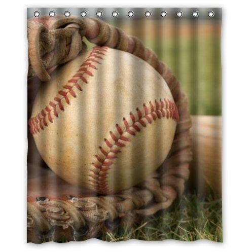 abigai Vintage Baseball Custom Printed Waterproof fabric Polyester Bath Curtain Bathroom Decor Shower Curtain72