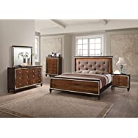 Caucasia Italian Button Tufted 6 Piece Lighted E King Bed, 2 Nightstand, Dresser & Mirror, Chest in Walnut