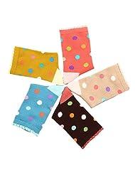 Feoya Kids Cotton Dot Ruffle Crew Socks Seamless Socks for Girls 5 Pack