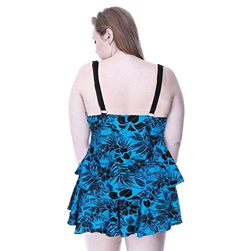 SHISHANG La Sra Bikini Europa y los Estados Unidos, incluso el traje de baño corporal elevada elasticidad del medio ambiente natación natación vadear grande y gordo Blue