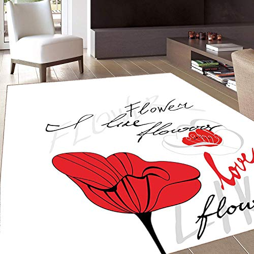 Rubber 9530 - Rug,FloorMatRug,Poppy,AreaRug,Stylized Red Blossom with Romantic Inscription Love of Nature and Flower,Home mat,2'x3'Scarlet Black Pale Grey,RubberNonSlip,Indoor/FrontDoor/KitchenandLivingRoo