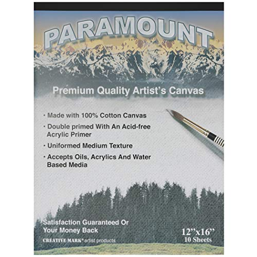 Paramount Artist Double Primed 100% Cotton Canvas Pad - Single Pad (10 Canvas Sheets) - 12