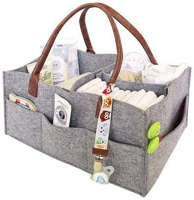 Clearance Sale Baby Diaper Caddy Organizer Foldable Felt Storage Bag Portable Lightly Multifunction Changeable Compartments for Mom Newborn Kids Nappies,Cases Gray Storage /& Transport