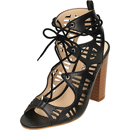 jwf Lace up Block High Heel Peep Toe Cut Out Sandals Shoes Black MS2zI0r