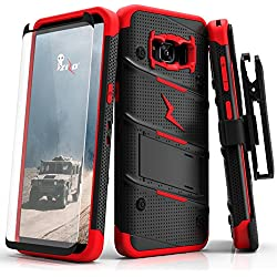 Samsung Galaxy S8 Plus Case, Zizo [Bolt Series] w/ [Galaxy S8 Plus Screen Protector] Kickstand [12 ft. Military Grade Drop Tested] Holster Clip - S8+