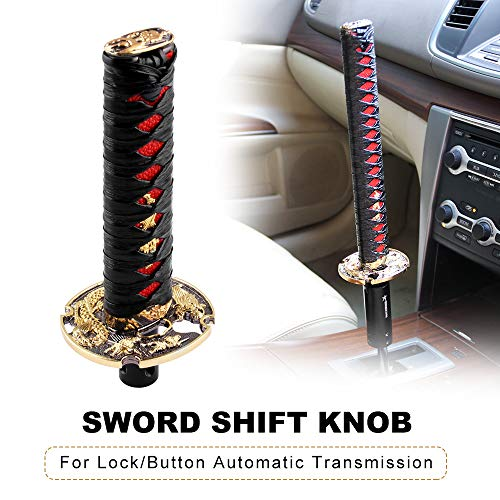 Knob Shift Automatic - RYANSTAR Samurai Sword Automatic Shift Knob Universal for Lock/Button Automatic Transmission,Cool Katana Gear Shifter Metal Weighted Black&Red