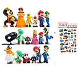 18 Piece Super Mario Bros Super Mary Princess, Turtle, Mushroom, Orangutan , Super Mary Action Figures, 2'