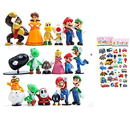 18 Piece Super Mario Bros Super Mary Princess, Turtle, Mushroom, Orangutan , Super Mary Action Figures, 2