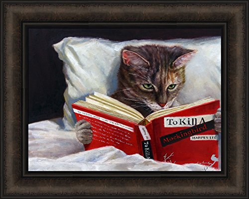 Home Cabin Décor Late Night Thriller by Lucia Heffernan 16x20 Humorous Funny Art Cat Reading Book Kitten Kitty Framed Print Picture ()
