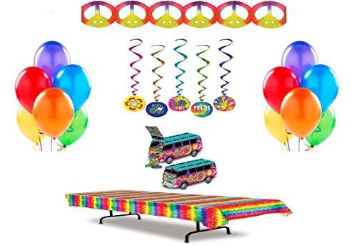 Peace Sign Party Plastic Tablecover (60's Tie Dye Party Decoration Bundle (20 Piece Set))
