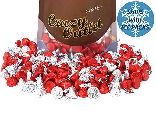 CrazyOutlet Pack - Hershey's Kisses, Red and Silver Foil, Mother's Day Chocolate Candy, 1 lb ()