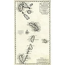 """MAP of the FRENCH Caribbean WEST INDIES by Chez I'auteur sur le Quay de l'Horloge of PARIS circa 1718 - measures 42"""" high x 24"""" wide (1067mm high x 610mm wide)"""