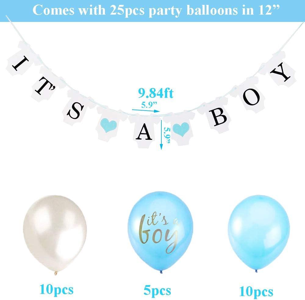 Blau Its A Boy Girlande Oh Baby Folie Ballons Aufh/ängen F/ächer Girlande Banner und Luftballons f/ür Baby Shower Babydusche Zerodeco Junge Baby Dusche Dekoration