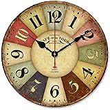 Ularma Vintage France Paris pays Français coloré Tuscan Style horloge murale en bois Paris
