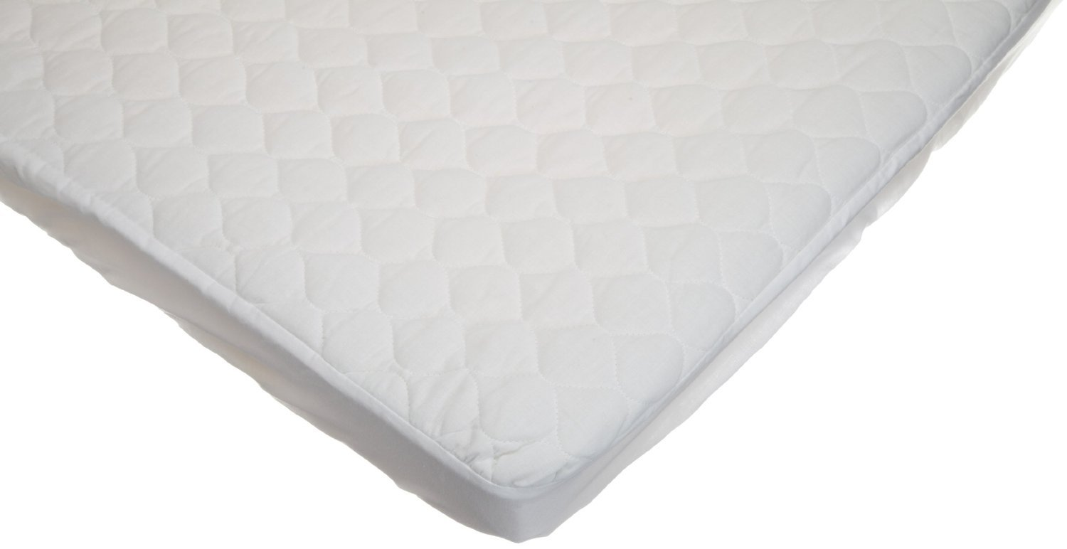 B000BPMJR6 American Baby Company Waterproof Fitted Quilted Cotton Portable/Mini Crib Mattress Pad Cover, White, for Boys and Girls 51TICGdxGmL