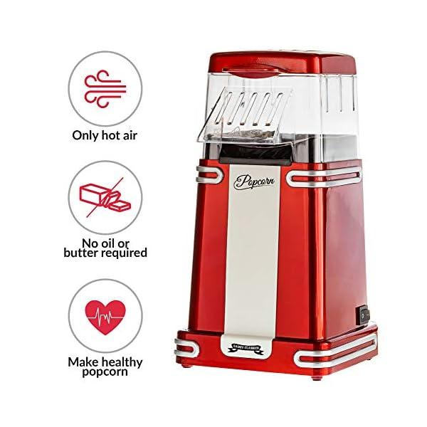 Gadgy ® Popcorn Machine | Retro Macchina Pop Corn Compatta | Aria Calda Senza Olio Grasso l Edizione Rossa Retrò 2