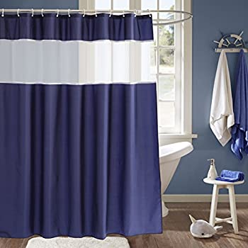 Charmant Navy Blue And White Shower Curtain, Fabric Shower Curtain With Light  Filtering Mesh Window,