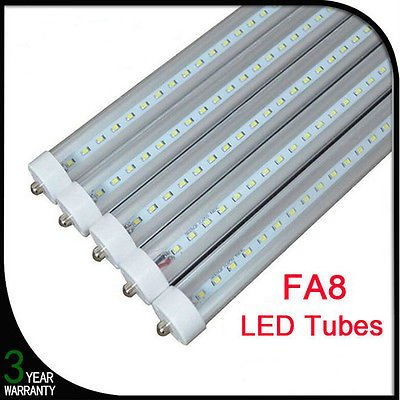 "10 pack T8 T10 T12 96"" FA8 Single Pin LED Light Tube bulb, 8ft, 36W (75W equivalent), 6000K (cool white), clear Cover, Dual-Ended Power,UL"