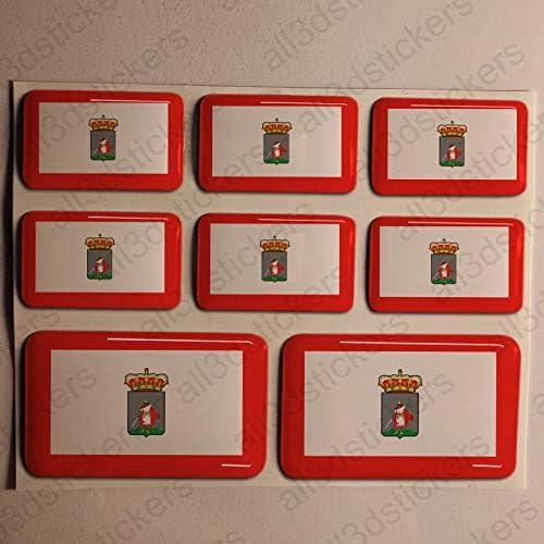 Pegatinas Gijon España Resina, 8 x Pegatinas Relieve 3D Bandera Gijon España Adhesivo Vinilo: Amazon.es: Coche y moto
