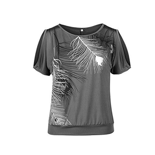 Shirt Epaule Manches Dnude Gris Casual Chic Plumes Courtes Chemise Imprim Blouse T Femme aux Xwq5p6