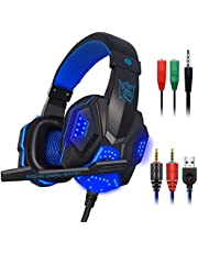 Gaming Headset with Mic and LED Light for Laptop Computer, Cellphone, PS4 and The New Xbox One, MAXIN 3.5mm Wired Noise Isolation Gaming Headphones - Volume Control.(Black and Blue)
