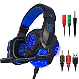 #7: maxin Gaming Headset for Laptop Computer, Cellphone, PS4 and son on, 3.5mm Wired Noise Isolation Gaming Headphones with Mic and LED Light- Volume Control.(Black and Blue)