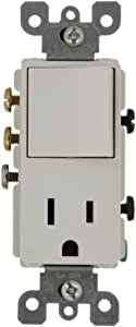 Leviton 5645-W 15 Amp, 120 Volt, Decora 3-Way/AC Combination Switch, Commercial Grade, Grounding, White