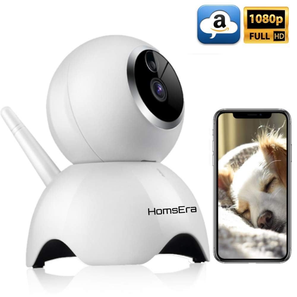 HomsEra 1080P Full HD 2MP Wireless Pet/Dog/Baby/Home Security Camera with MotionDetection, 2 WayAudio, NightVision, Pan/Tilt/Zoom, Amazon CLOUD Storage IOS/Android/WindowsPC App