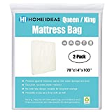 HOMEIDEAS 2-Pack 2 Mil Thick Mattress Bag for Moving & Long-term Storage, Fits Queen/King Size