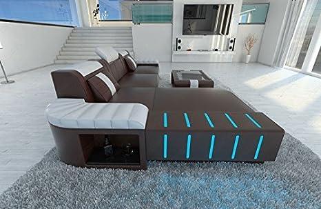 moderno sofá de cuero BELLAGIO Forma L Sofá de diseño con ...