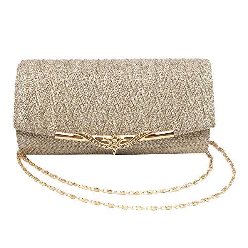 Editha Women Glitter Evening Bag Luxury Retro Embossed Clutch Banquet Fashion Chain Cross-body Bag Champagne ()