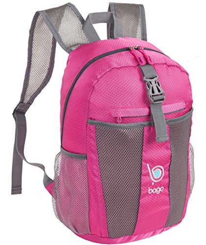 Bago Lightweight Backpack. Water Resistant Collapsible Rucksack for Travel and Sports. Foldable and Packable Daypack for Adults, Men and Women, Teens and Children (Pink) (Bike Travel Suitcase)