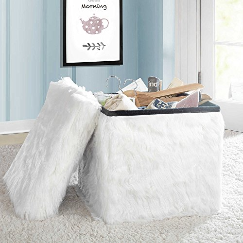 Stylish Mongolian Fur Collapsible Storage Cube in White