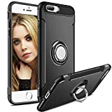iPhone 7 Plus Case,iPhone 8 Plus Case,Aemotoy Protective Cover 360 Degree Ring Kickstand Clip Metal Plate Bracket Holster Shockproof Defender Anti-Scratch Phone Case for iPhone 7 Plus 8 Plus (Black)