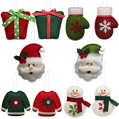 Juegoal Handmade Christmas Tree Hanging Ornament Snowman/Santa Claus/Gift Box/Glove/Cloth Decoration for Xmas Tree Party Holiday (Set of 10) (Felt Ornaments)