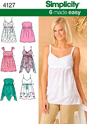 Simplicity 6 Made Easy Pattern 4127 Misses Tops with Bodice and Hemline  Variations Sizes 6-8-10-12-14