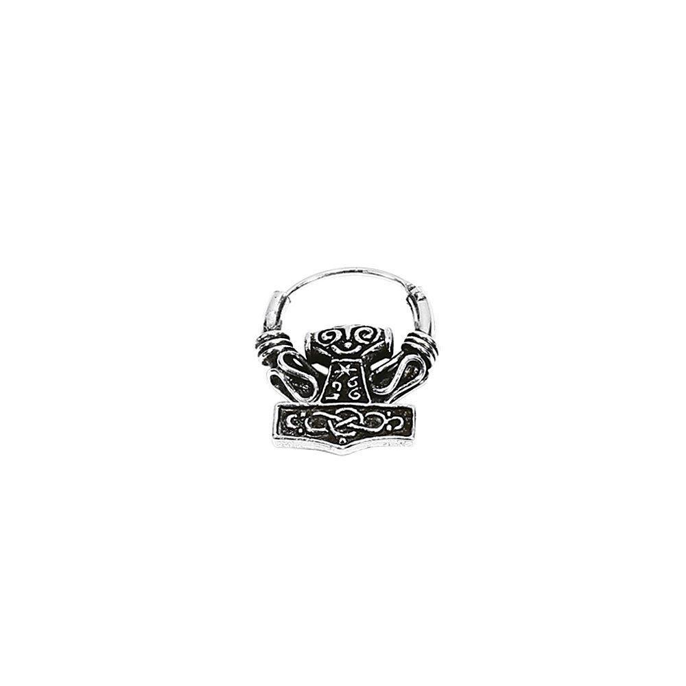 PAAR 925 STERLING SILBER Keltische Bali Ohrringe 16mm Creolen Thors Hammer 7065