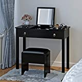 AMOOLY Vanity Set with Flip Top Mirror and Cushioned Storage Stool Bench Makeup Dressing Table Study Writing Desk with 2 Drawers Stool 3 Removable Organizers (Black)