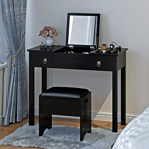 Vanity Set with Flip Top Mirror and Cushioned Storage Stool Bench Makeup Dressing Table Study Writing Desk with 2 Drawers Stool 3 Removable Organizers