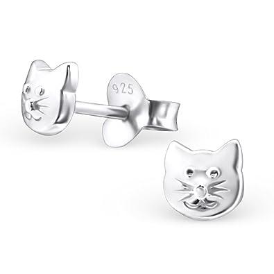Pendientes de tuerca con cara de gato – plata de ley 925, tamaño: 4