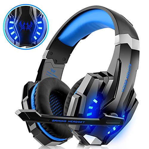 WILLNORN Gaming Headset - Over Ear Headphones Fit Xbox One, PS4, PC Controller Noise Cancelling with Mic, LED Light, Bass Surround fit Laptop Mac Games (Blue) (Switch Mic Muting)