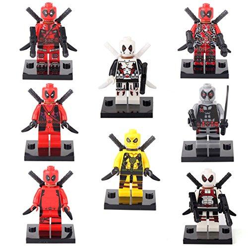 JSM Deadpool Spider-Man Super Hero 8 Minifigures Building bricks Toys Xmas gift lEGO