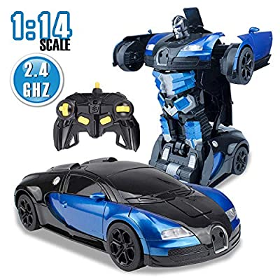 karsiqi Transform RC Cars Robot for Kids Remote Control Transform Robot Toys for Children, Gesture Sensing Toys with One-Button Deformation 1:14 Scale Best Gift for Boys & Girls (Blue): Toys & Games