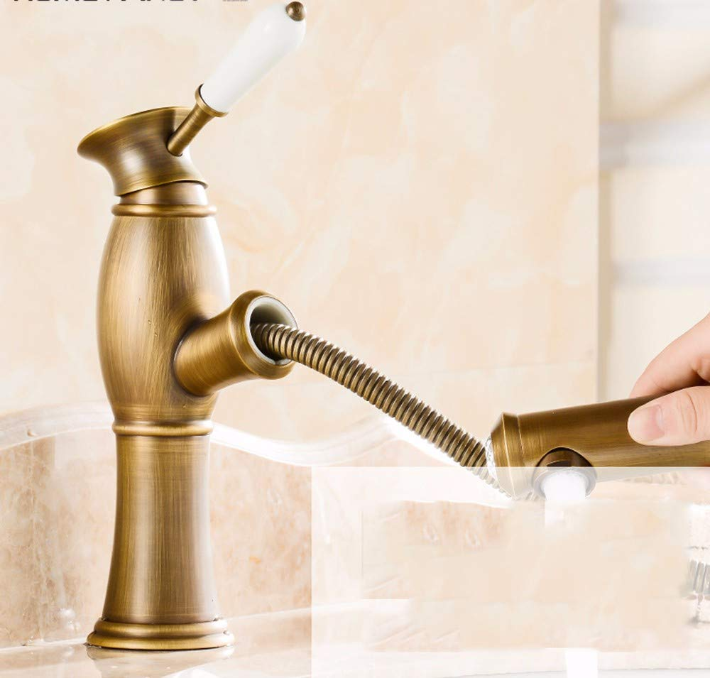 3 Lpophy Bathroom Sink Mixer Taps Faucet Bath Waterfall Cold and Hot Water Tap for Washroom Bathroom and Kitchen Copper Pulled Out Hot and Cold redation 8
