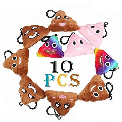 Gmasking Poo Cushion Keychain Porte-clés Emoticon Mini Pillow, Paquet de 10 cheap