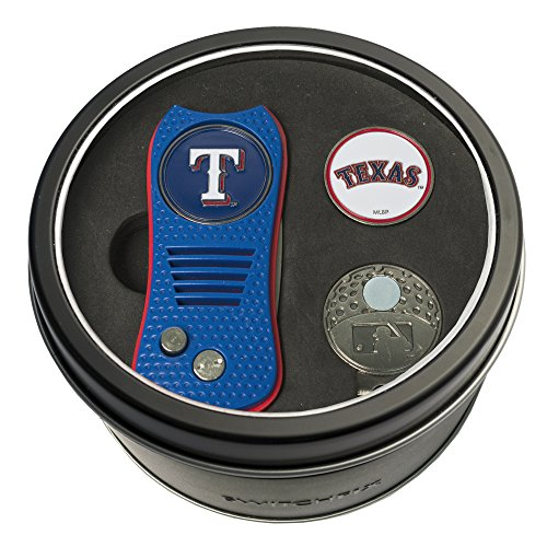 Team Golf MLB Texas Rangers Gift Set Switchblade Divot Tool, Cap Clip, & 2 Double-Sided Enamel Ball Markers, Patented Design, Less Damage to Greens, Switchblade Mechanism ()