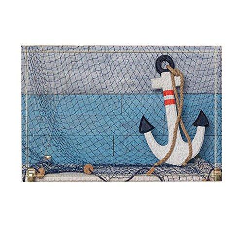 (KOTOM Nautical Navigation Decor, Anchor with Rope on Wooden Floor Bath Rugs, Non-Slip Doormat Floor Entryways Outdoor Indoor Front Door Mat, Kids Bath Mat, 15.7x23.6in, Bathroom)