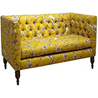 Skyline Furniture Vintage Blossom Citrine Fabric Tufted Loveseat