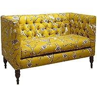 Skyline Furniture Vintage Blossom Citrine Fabric Tufted Loveseat
